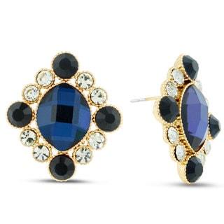 Royal Blue Antique Stud Earrings, Pushbacks