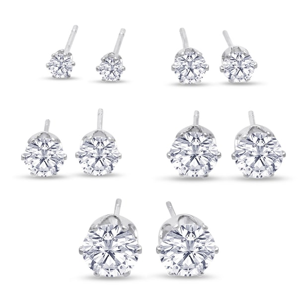 316L Surgical Stainless Steel Round Clear Cubic Zirconia Stud Earring set (5 Pairs) - White