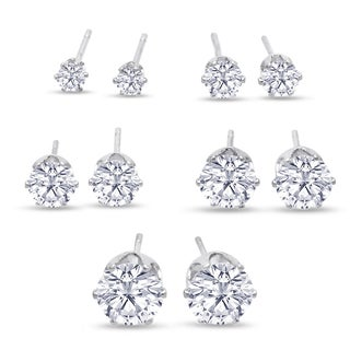 316L Surgical Stainless Steel Round Clear Cubic Zirconia Stud Earring set (5 Pairs)