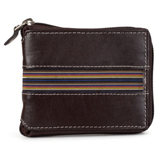 Vance Co. Men's Handcrafted Genuine Leather Zippered Wallet
