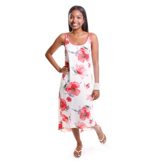 Hadari Women's Floral Print Sleeveless Dress