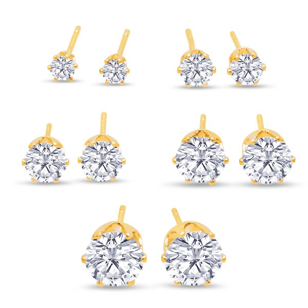 316L Surgical Stainless Steel Round Clear Cubic Zirconia Stud Earring set (5 Pairs), Yellow Gold Color