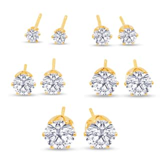 316L Surgical Stainless Steel Round Clear Cubic Zirconia Stud Earring set (5 Pairs), Yellow Gold Color|https://ak1.ostkcdn.com/images/products/10454800/P17547260.jpg?impolicy=medium