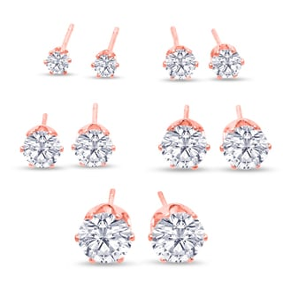 316L Surgical Stainless Steel Round Clear Cubic Zirconia Stud Earring set (5 Pairs), Rose Gold