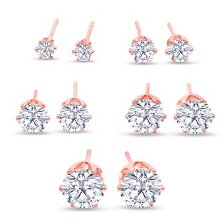 316L Surgical Stainless Steel Round Clear Cubic Zirconia Stud Earring set (5 Pairs), Rose Gold Color|https://ak1.ostkcdn.com/images/products/10454801/P17547261.jpg?_ostk_perf_=percv&impolicy=medium