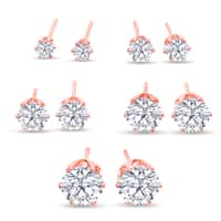 316L Surgical Stainless Steel Round Clear Cubic Zirconia Stud Earring set (5 Pairs), Rose Gold Color