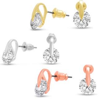 8mm Crystal Stud Earrings In Silver, Rose And Yellow