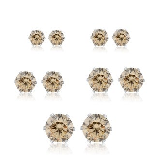 Set Of Five Champagne Cubic Zirconia Stud Earrings In Yellow Gold Color - 1/3ct, 1/2ct, 1ct, 1 3/4ct