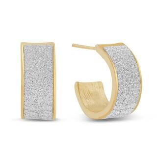 Dust Huggie Hoop Earrings, Gold Overlay