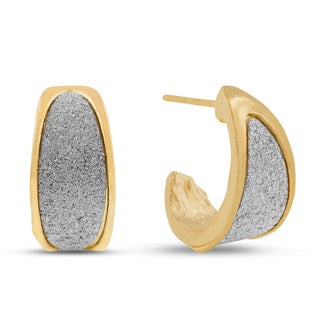 Elegant Dust Huggie Hoop Earrings, Gold Overlay
