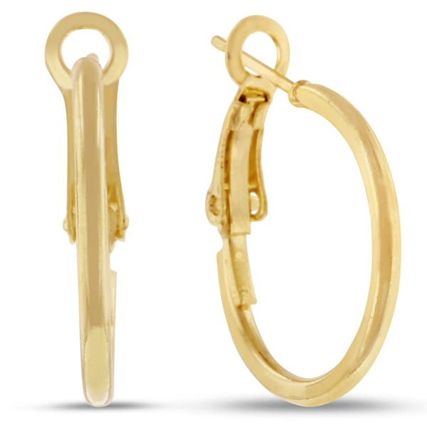 Shop Yellow Gold Over Brass 3 4 Inch Hoop Earrings With Omega Backs