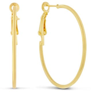 18 Karat Yellow Gold Hoop Earrings With Omega Backs, 1 1/2 Inches