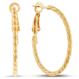 18 Karat Yellow Gold Diamond Cut Hoop Earrings With Omega Backs, 1 Inch