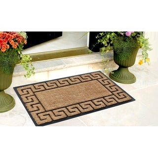 First Impression Rubber and Coir Greek Key Border Brush Mat