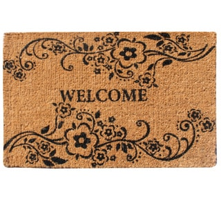 A1HC- First Impression Handmade Large Floral Coir Welcome Mat (2' x 3')
