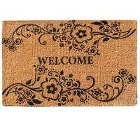 A1HC- First Impression Handmade Large Floral Coir Welcome Mat (2' x 3')