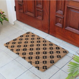 Hand Made Large Ogee Floral Coir Doormat 17547324