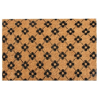 Hand Made Large Ogee Floral Coir Doormat