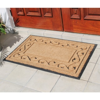 Hand-crafted Paisley Border Rubber and Coir Double Doormat (2'4 x 3'7)