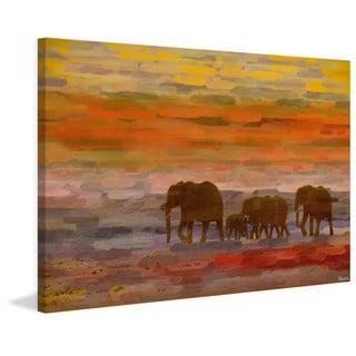 Handmade Parvez Taj - Herd Walking Print on Canvas