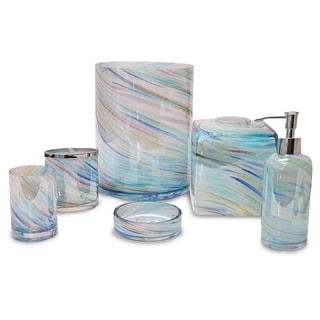 Veratex Blue Horizon Multi-Color Glass Bath Accessories Collection