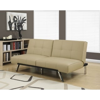 Monarch Click Clack Taupe Faux Leather Modern Split Back Futon