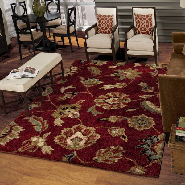 Carolina Weavers Grand Comfort Collection Floral Tendon Red Shag Area Rug - 7'10 x 10'10