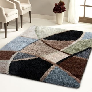 Carolina Weavers Comfy and Cozy Shag Scene Collection Specter Multi Shag Area Rug (6'7 x 9'8)