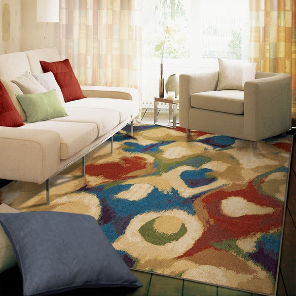 Berkley Collection Broken Glass Abstract Multi Olefin Area Rug - 7'10 x 10'10
