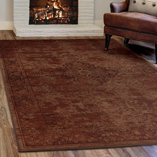 "Virtuous Collection Faded Traditional Red Olefin Area Rug (5'3"" x 7'6"")"