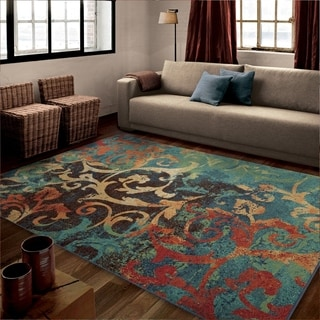 Vibrance Collection Watercolor Scroll Multi Olefin Area Rug (5'3 x 7'6)