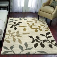 Carolina Weavers Eden Collection Toppling Leaves Ivory Area Rug - 5'3 x 7'6