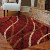 "Carolina Weavers Shag Scene Collection Liberation Red Shag Area Rug (5'3 x 7'6) - 5'3"" x 7'6"""