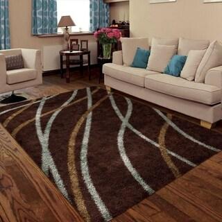 Carolina Weavers Shag Scene Collection Liberation Brown Area Rug (5'3 x 7'6)