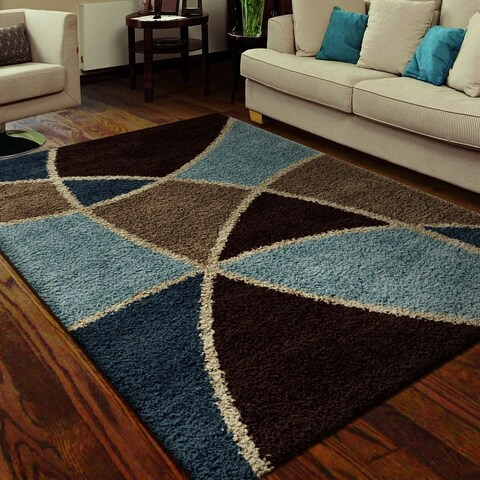 Specter Blue/ Brown Shag Rug By Carolina Weavers