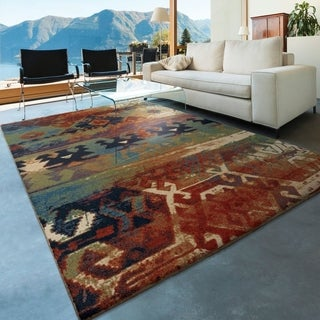 "Berkley Collection Southwest Dreamcatcher Multi Red Olefin Area Rug (5'3"" x 7'6"")"