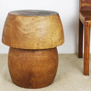 """Handmade Mango Wood Mushroom Light Teak Tone Oil Table - 18"""" x 20"""" (Thailand)"""