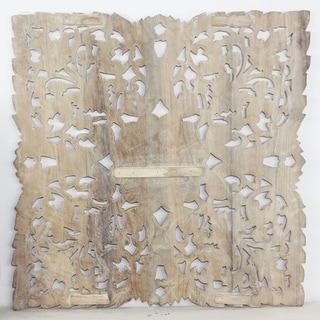 Haussmann Sand Washed Natural Wax Lotus Panel Inlay Square , Handmade in Thailand