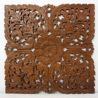 Handmade Haussmann Brown Stain Natural Wax Lotus Panel Inlay Square (Thailand)