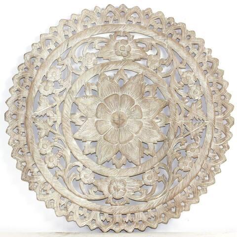 Haussmann Handmade Recycled Teak Lotus Wall Panel Inlay Round 60 cm H Sand Washed