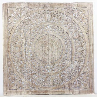 Haussmann Handmade Recycled Teak Lotus Wall Panel 48 x 48 in H-3D  Sand Washed
