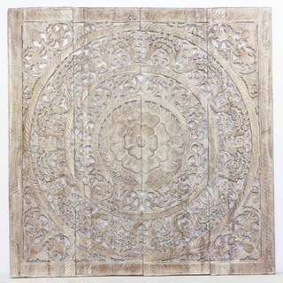 Handmade Haussmann 3D White Stain Natural Wax Lotus Panel (Thailand)