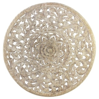 Hand-carved 3D Inlay 36-in Round Sand-washed White Finish Hand-rubbed Light Teak Tone Oil Natural Wax Lotus Panel (Thailand)