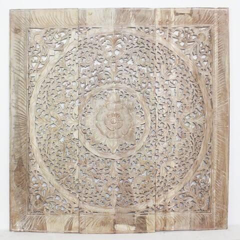 Haussmann® Teak Lotus Panel Inlay 36 in x 36 in Sand Washed