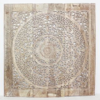 Handmade Recycled Teak Wood Lotus Panel Inlay (Thailand)