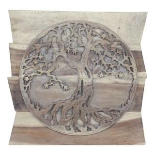 Handmade Haussmann Agate Grey Oil Uneven Boards Tree of Life Round (Thailand)