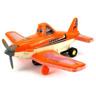 Velocity Toys Cartoon Force Plane Battery Operated Kid's Bump and Go Toy Plane - Orange