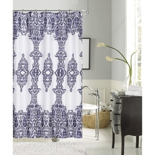 Happy Summer Damask Polyester Shower Curtain