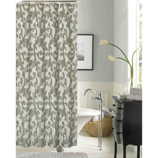 Dahlia Floral Polyester Shower Curtain