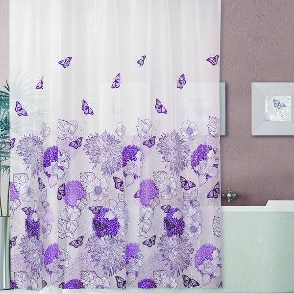 Floral Plastic 13-piece  Shower Curtain Set